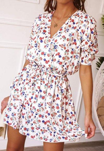 Sukienka ROSES biała w drobne kwiaty