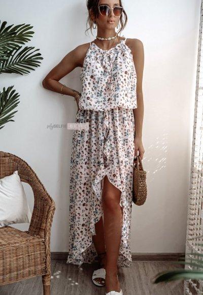 Sukienka ROSSA biała w kwiaty