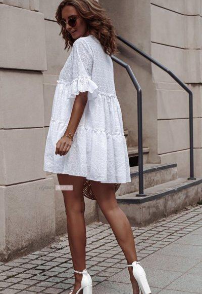 Sukienka AMEL biała ażurowa 2