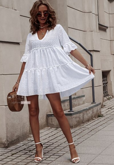 Sukienka AMEL biała ażurowa 3