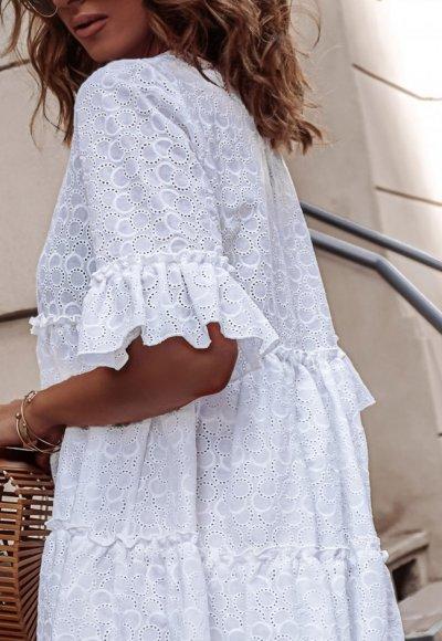 Sukienka AMEL biała ażurowa 4