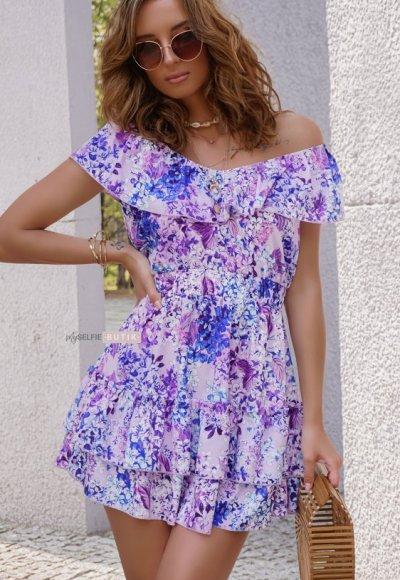 Sukienka LILY wrzosowa w kawiatowy wzór