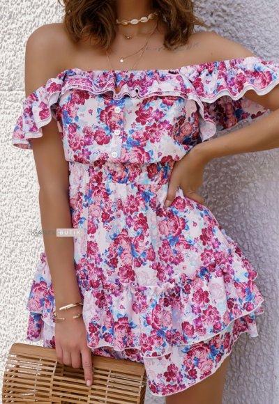 Sukienka ROSARIO w różowe kwiaty