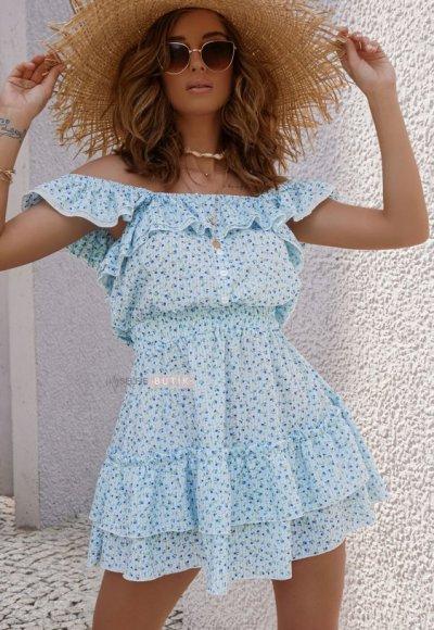 Sukienka ROSARIO w niebieskie kwiatuszki