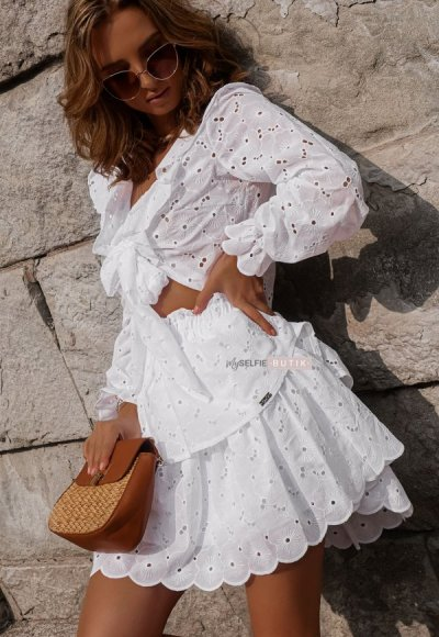 Spódnica IBIZA biała haftowana