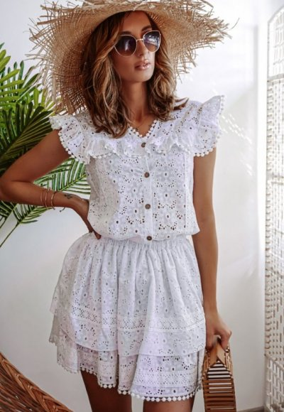 Komplet LIVII biały haftowany