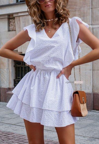 Sukienka CARMEN biała ażurowa 1