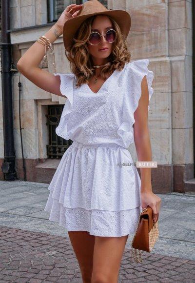 Sukienka CARMEN biała ażurowa 3