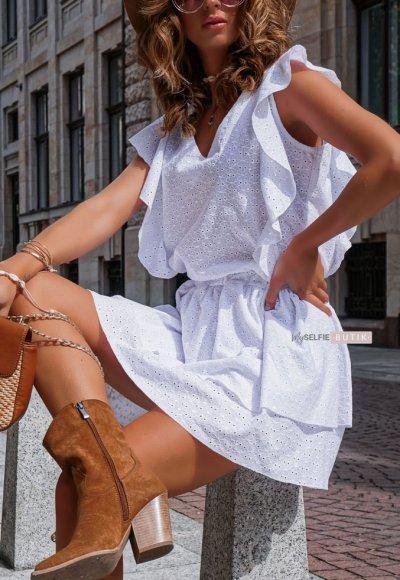 Sukienka CARMEN biała ażurowa 4