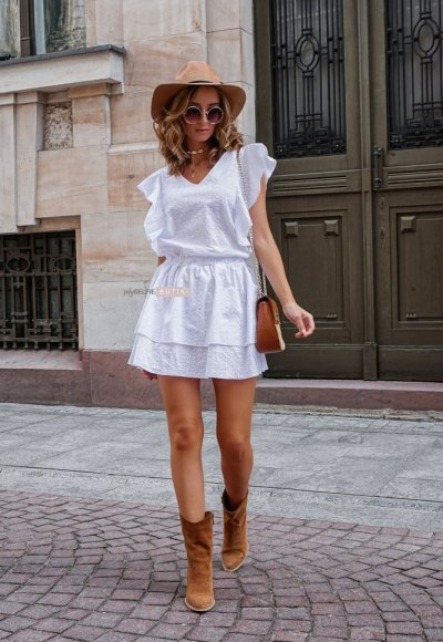 Sukienka CARMEN biała ażurowa 5