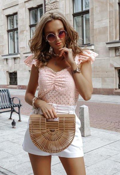 Bluzka MADRYT różowa ażurowa
