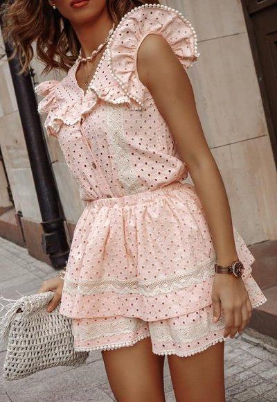 Komplet LIVII różowy haftowany