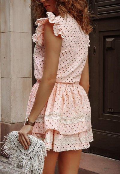 Komplet LIVII różowy haftowany 2