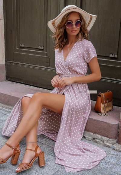 Sukienka DOTS pudrowa