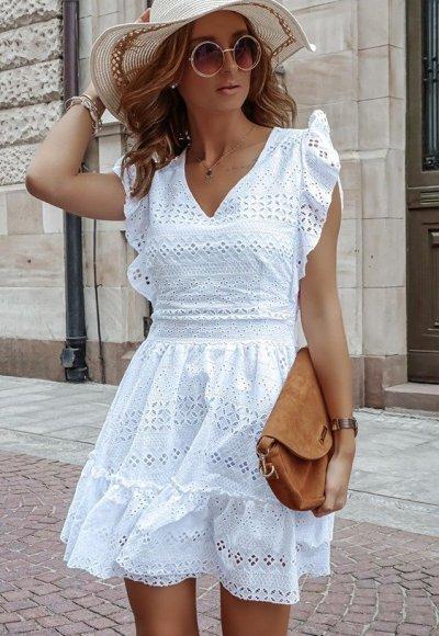 Sukienka CLARIS biała ażurowa