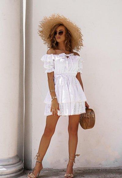 Sukienka ISABELLA biała haftowana