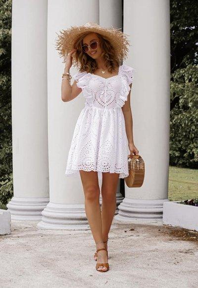 Sukienka FRILL biała ażurowa