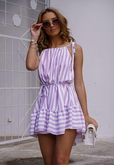 Sukienka SUMMER paski fioletowe