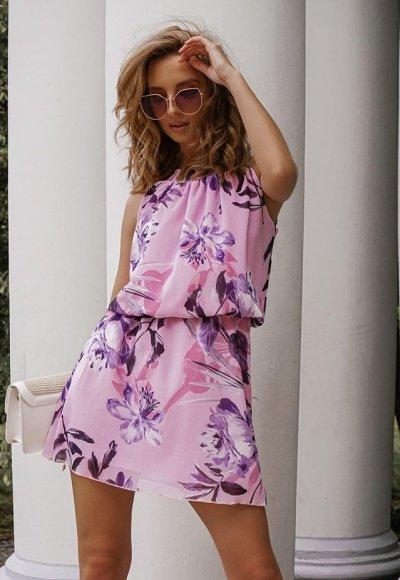 Sukienka LARA lilac flowers