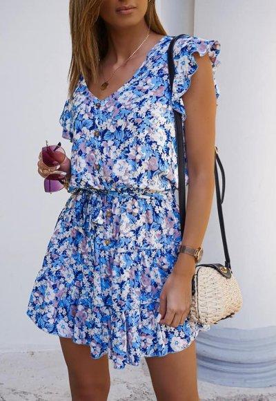 Sukienka ROSES niebieska w kwiatowy wzór