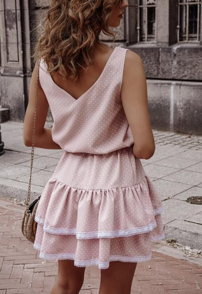 Sukienka KAYA pudrowa w kropeczki 1