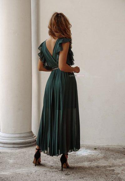 Sukienka BUTTERFLY zieleń butelkowa 5