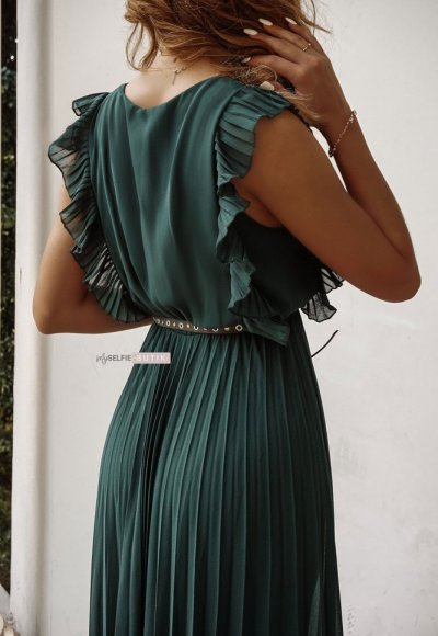 Sukienka BUTTERFLY zieleń butelkowa 6