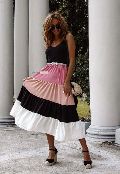 Sukienka HOLIDAY z różowym pasem
