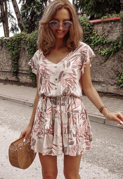 Sukienka MEADOW beżowa w kwiatowy wzór