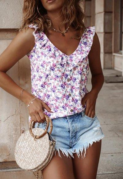 Bluzka DORIS w kolorowy kwiatowy print
