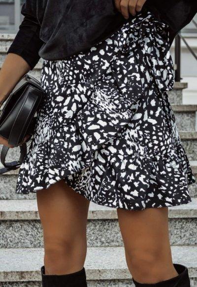 Spódnica MORENA w biało-czarny print