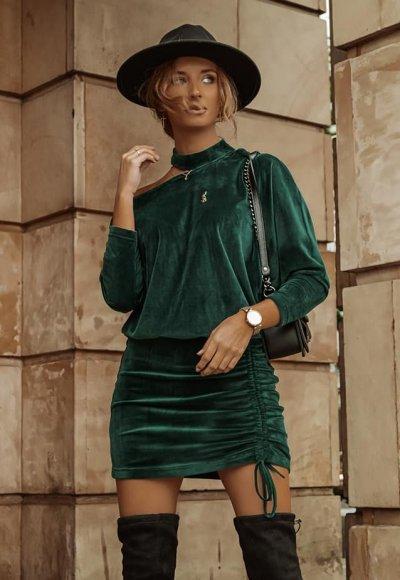 Sukienka CHIC zielona welurowa