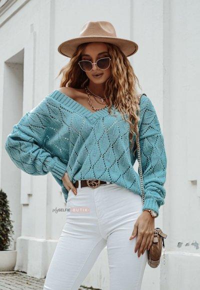 Sweter ROMBY turkusowy
