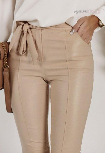 Spodnie ZARAH woskowane beżowe 1