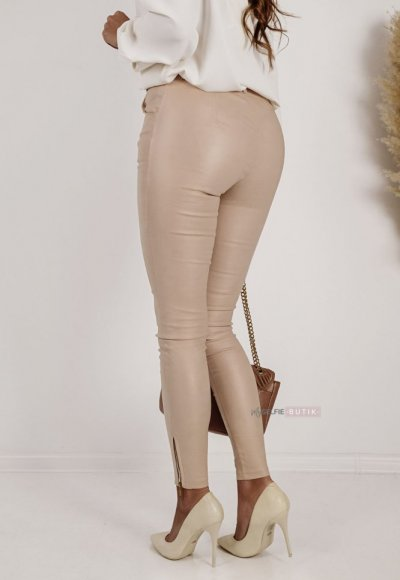 Spodnie ZARAH woskowane beżowe 3