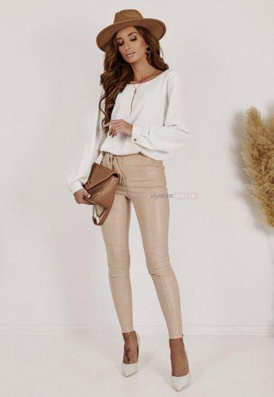 Spodnie ZARAH woskowane beżowe 2