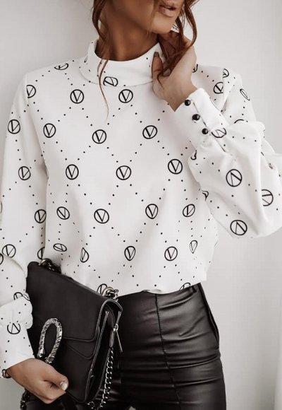 Koszula LOUIS biała/czarny druk