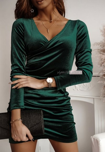 Sukienka SHINE zieleń butelkowa 3