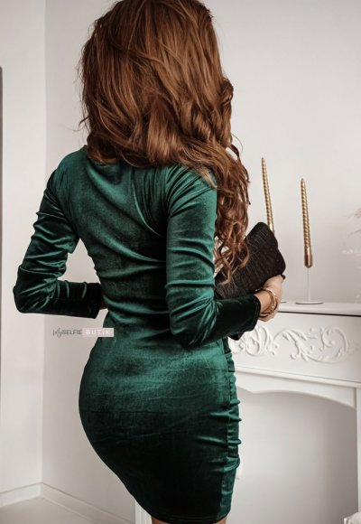 Sukienka SHINE zieleń butelkowa 1