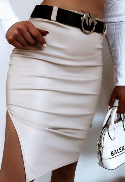 Spódnica LEATHER latte beige