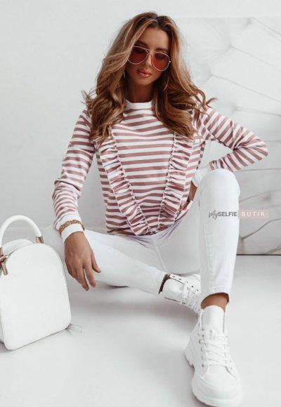 T-shirt V STRIPES w różowe paski