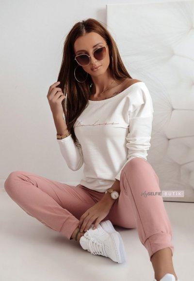 Biało-różowy komplet dresowy FLAWLESS