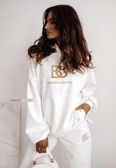Zamszowy komplet dresowy BG biel