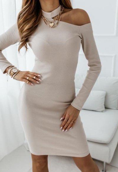 Sukienka NAKED ARM beżowa