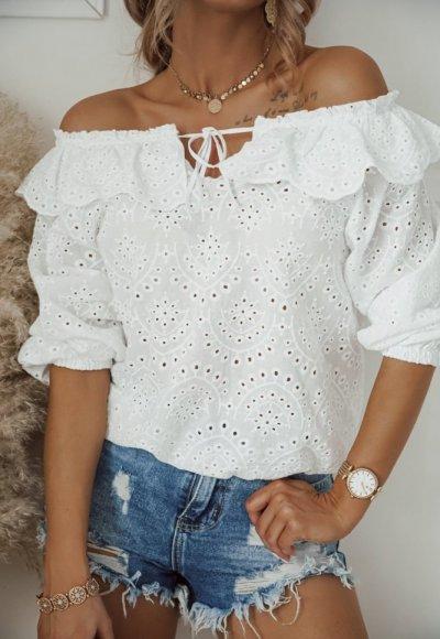 Bluzka haftowana LORETA biała