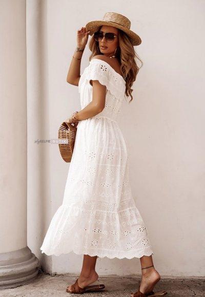 Sukienka AZARA biała haftowana