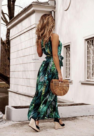 Sukienka REINA w zielone liście
