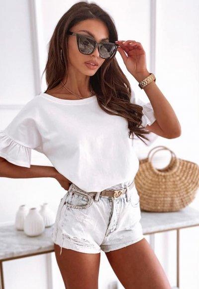 T-shirt FRILL V biały