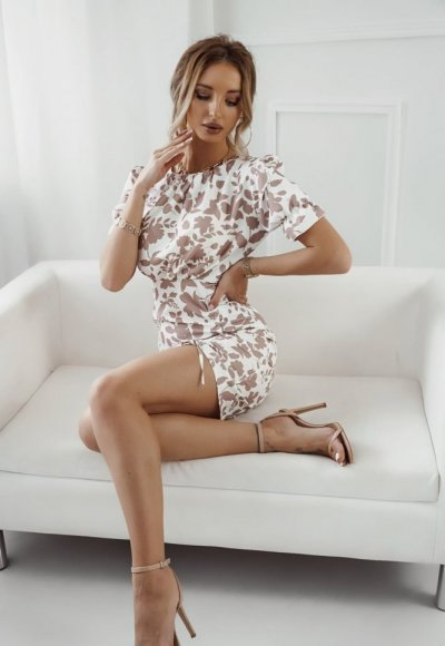 Sukienka MEGANE w beżowe kwiaty