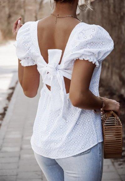 Bluzka VENE biała haftowana